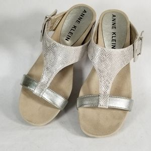 Anne Klein Silver Tammy Sandal